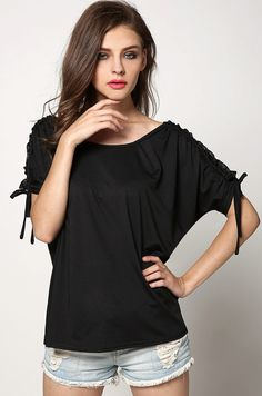 75440d5e503ee1 Black Fashion Women O-neck Short Sleeve Solid Loose Cool Tank Shirts    Blouses Casual Tops.