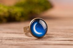 Crescent moon ring, blue ring, adjustable ring, brass ring, night ring, statement ring, glass ring, antique bronze / silver plated ring base