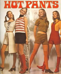 Hot Pants 60s 70s shorts knit stripes red black white tan go go boots top shirt sweater jumper pinafore hair shoes vintage fashion