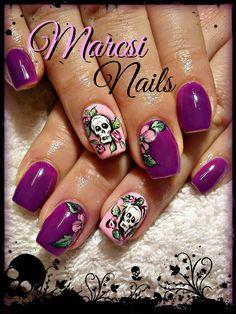 Pink and purple skull nail art # Tattoo nail design