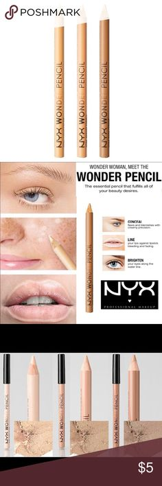 🔅NYX Wonder Pencil *Light*🔅W/FREE GIFTS!🎁😍🎉 🔅NEW & UNOPENED🔅CHOOSE BETWEEN 3 COLORS🔅THIS PENCIL = LIGHT🔅Wonder Woman meet the NEW & fabulous Wonder pencil! The essential pencil that fulfills ALL of your beauty desires- Conquer 3 critical make-up tasks using only 1 product! CONCEAL flaws & blemishes w/ creamy precision. LINE ur lips against bleeding & fading, & BRIGHTEN ur eyes along the waterline!! Will wonders never cease? Not with this NEW NYX pencil in ur bag!!🔅BUNDLE ONLY 3…