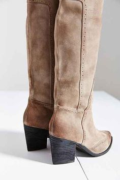 Distressed Suede Tall Boots