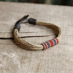 Red gray mens bracelet linen bracelet for him by Naryajewelry, $27.00