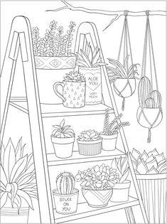 reading tea free printable coloring page dover publications | kostenlose erwachsenen malvorlagen