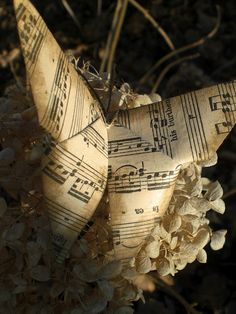 Origami butterfly from old sheet music