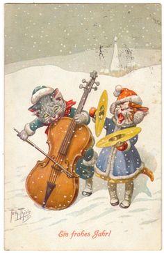 Arthur Thiele postcard   eBay Cats singing in the snow...