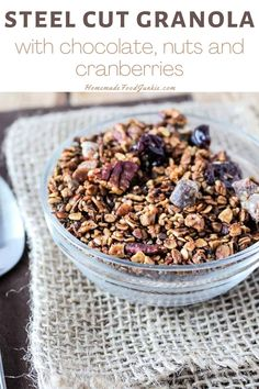 Steel cut granola with chocolate, nuts and cranberries is a healthy breakfast or mid-day snack. Easy to bake into bars, this homemade recipe is a great year round go to.#granola #steelcut #recipe #bars #homemade Healthy Cake, Healthy Breakfast Recipes, Healthy Snacks, Healthy Eating, Healthy Recipes, Oat Granola Recipe, Oats Recipes, Cooking Recipes, Oat Cookies