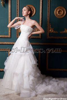 Strapless 2013 Stylish Elegant Ruffle Wedding Dress IMG_1520:1st-dress.com