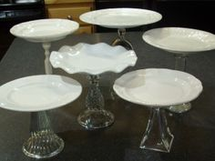 Make these cake plates from plates and vases or candle holders