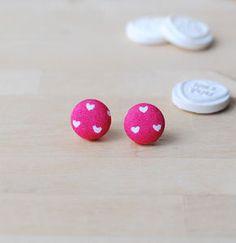 Heart Print Button Earrings - earrings