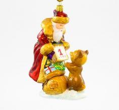 Mikołaj z misiem i kalendarzem - Polskie bombki ręcznie malowane - sklep z ozdobami choinkowymi Komozja Family