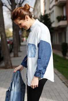 patchwork denim, mango fashion, leather pants, denim, selfdressed, redhaired, streetstyle
