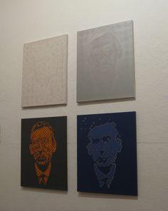 """""""Hugo Ball Portrait"""", Wolfgang Fritz, vier Variationen, Acryl/Pigment/Lack auf Leinwand, 60 x 50 cm, 2003. Gezeigt in der Ausstellung dialog/analog/digital, Malerei/digitale Fotografie, 1. bis 30. November 2013"""