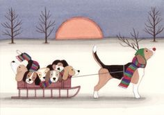 12 Christmas Cards Beagle as Rudolph pulling by watercolorqueen, $14.99