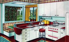 Inspiring Mid Century Kitchen Remodel Ideas - adamson news 1940s Kitchen, Vintage Kitchen, Kitchen Post, Aga Kitchen, Retro Kitchen Decor, Kitchen Time, Smart Kitchen, Kitchen Dining, Kitchen Ideas