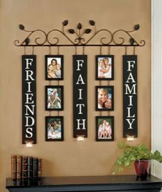 Faith family friends 6 photo metal wall art scone hanging decoration 30
