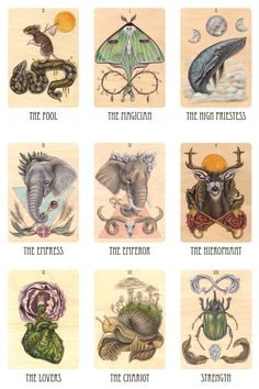 gorgeous Major Arcana cards from the Wooden Tarot