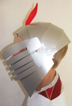 Knight's Helmet With Visor For Kids To Make ... Just made it ... Cute and easy!