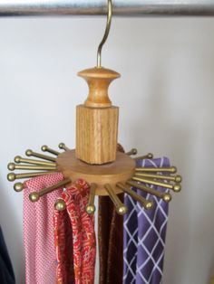 Vintage Solid Oak and Brass Hanging Tie Rack by VintageVivant, $34.00