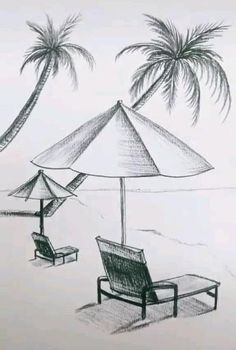 Scenery Drawing Pencil, Scenery Drawing For Kids, Pencil Sketches Landscape, Art Drawings Sketches Simple, Art Drawings For Kids, Pencil Art Drawings, Beach Sketches, Pencil Drawing Inspiration, Moonlight Painting