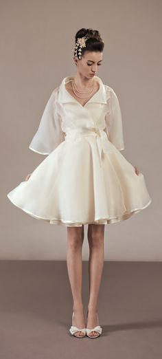 Bridal organza trench coat with full skirt, 50's inspired. As pretty as a wedding dress!