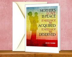 """Mother's Day Greeting Card - Inspirational Quote by Erich Fromm, Printable Purple Instant Download Card, Typography Digital Print PDFs. Use the coupon code, """"PIN10"""" for 10% off on your entire purchase! Click to buy and print! #mothersday #mothersdaygift #mothersday2016"""