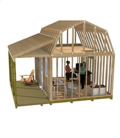 This 12x16 barn shed with porch is the perfect size for your home office or studio.