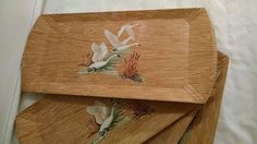 Vintage Coronet Geese & Cattails Wood Look Lap Trays Lot 4 1970