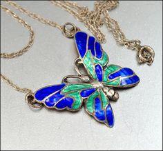Sterling Silver Enamel Butterfly Necklace Pendant