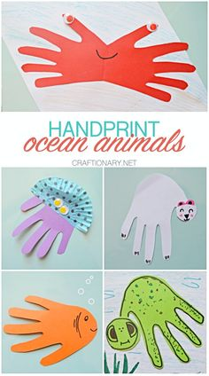 5 Handprint ocean animals made with construction paper - Craftionary Paper Animal Crafts, Sea Animal Crafts, Paper Animals, Paper Crafts, Ocean Projects, Paper Art Projects, Easy Projects, Quick Crafts, Crafts For Kids