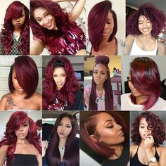 Recently shades of red hair color have become extremely popular in the world of hair. Red hair color in itself has many different shades. In addition to the red colors that contain cold tones, the color of hot. Weave Hairstyles, Pretty Hairstyles, Girl Hairstyles, Black Hairstyles, Love Hair, Gorgeous Hair, Amazing Hair, Beautiful Gorgeous, Curly Hair Styles