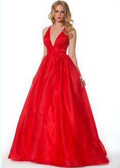 Nika 9019 - Red V-Neck Banded Prom Dresses Online #thepromdresses