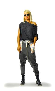 Loose winter cotton pants/Casual  pants/Black pants/Loose Black Drop Crotch Harem Pants/Extravagant Pants/Side print pockets/Woman trousers