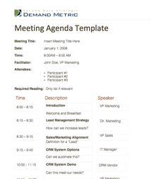Meeting Agenda Template - A template to organize meeting topics, timelines, and speakers. Get it here: http://www.demandmetric.com/content/meeting-agenda-template