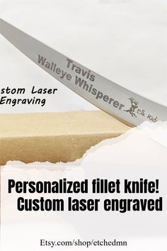 Personalized engraved fillet knife for any occasion! Engraved Knife, Engraved Gifts, Fillet Knife, Awesome Gifts, Personalized Tumblers, We Can Do It, Outdoor Survival, Knife Making, Pin Image