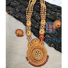 Geru Finish 1 Gram Long Necklace With Kemp Stone 1 Gram Gold Jewellery, Temple Jewellery, Gold Jewelry, Buy 1, Jewelry Shop, Necklace Set, Crochet Necklace, Bangles, Pendants