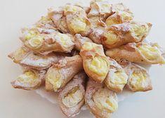 Tvarohovo-pudinkové šátečky recept - TopRecepty.cz Shrimp, French Toast, Meat, Cooking, Breakfast, Food, Kitchen, Morning Coffee, Essen