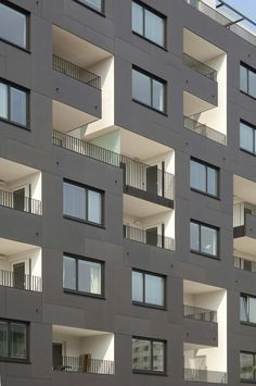 """Anthracite EQUITONE facade panels, white loggia's. Appartment block in Vienna by Zechner architects. <a class=""""pintag"""" href=""""/explore/architecture/"""" title=""""#architecture explore Pinterest"""">#architecture</a> <a href=""""http://www.equitone.com"""" rel=""""nofollow"""" target=""""_blank"""">www.equitone.com</a>"""