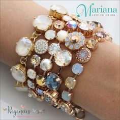 Mariana & Catherine Popesco Jewelry Bracelet stack featuring warm, neutral Swarovski, pearls, and gemstone colors. Available at: https://www.regencies.com/collections/mariana-jewelry