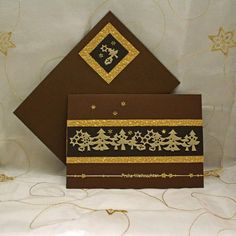 #christmas #card #handmade #artozpaper #brown #gold #beige #stars #trees Decorative Boxes, Trees, Beige, Stars, Brown, Gold, Christmas, Handmade, Crafts