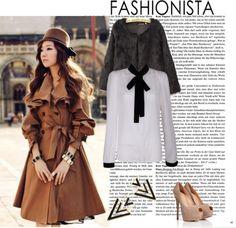 """British Style Women Khaki Wind Coat"" by fashionsara1987 ❤ liked on Polyvore"