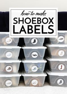How to Make Shoebox Labels | The Homes I Have Made Shoe Box Organizer, Clear Plastic Shoe Boxes, Closet Labels, Clever Closet, No Closet Solutions, Organization Hacks, Organizing Tips, Label Paper, Closet Designs