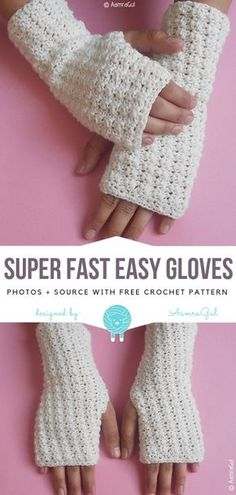 Crochet For Beginners Super Fast Easy Gloves Free Crochet Pattern Crochet Fingerless Gloves Free Pattern, Crochet Mitts, Bonnet Crochet, Fingerless Mitts, Mittens Pattern, Crochet Beanie, Knit Crochet, Hand Crochet, Crochet Winter