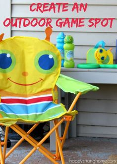 """Create an Outdoor Game Spot -   """"When the weather warms up and the kids want to get outside, we haul the toys out of the basement (or wherever we stored them last winter) and let them play! We have a small yard and driveway, so I try to create """"zones"""" where they can play various games."""" *What a fun idea"""