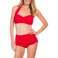 3f9fabcd608 Suddenly Slim By Catalina Women s Slimming High-Waisted Bikini 2 Piece Set  - Walmart.com