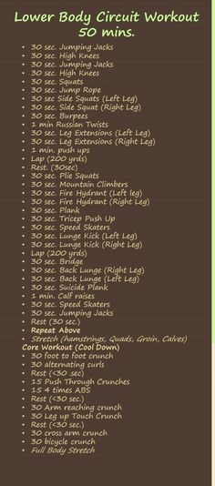 At Home No Equipment Lower Body Circuit Workout (50 mins) by regina