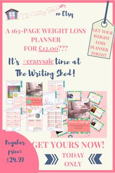 "#EtsySale - I know, I know... Monday is usually the ""I'll start my diet today"" day, right? Well, The Writing Shed is going to give you a little help and motivation. How about a beautiful 163-page #weightloss #planner for ONLY £12.00?? With a more holistic approach to weight loss, this planner includes worksheets that will help you: * to get into the right mindset to lose weight * to get in touch with your inner desires in order to find your real reason(s) to lose weight"