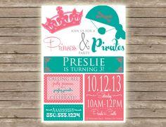 Princess & Pirates Birthday Party Invitation! Completely customized!!