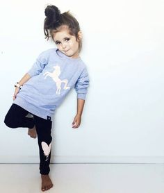 """183 Likes, 18 Comments - KaPow Kids Clothing (@kapowkids) on Instagram: """"First day of Autumn! Our new Sparkly Unicorn Sweater (glitter print) + Love heart leggings make the…"""""""