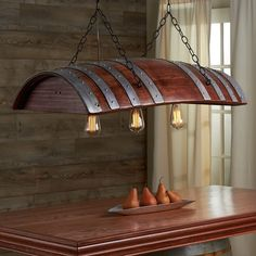 Amazing Oak Wine Barrel Chandelier Hand-Crafted & cut from a retired French oak wine barrel. Comes with three Edison light bulbs complementing the indu Rustic House, Whisky Barrel, Decor, Hanging Lights, Barrel Projects, Wine Barrel Furniture, Wood Projects, Home Decor, Lights